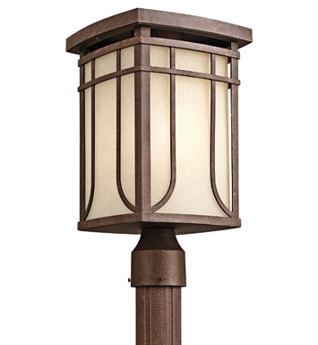 Kichler 49150AGZ Riverbank Collection Outdoor Post Mount 1 Light in Aged Bronze