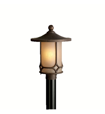 Kichler 9975AGZ Chicago Collection Outdoor Post Mount 1 Light in Aged Bronze