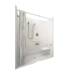 "Ella 6030BF5P-ELW Elite White Barrier Free Roll In Shower Kit - 60"" x 30"""