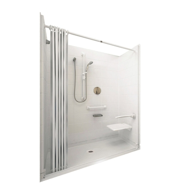 "Ella 6030BF5P-ELW.75C-BN Elite White Barrier Free Roll In Shower Kit - 60"" x 30"" With Finish: Bone And Drain Position: Center Drain"