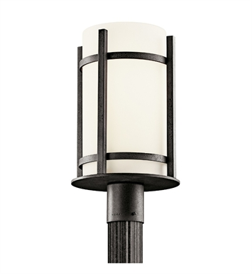 Kichler 49123AVIFL Camden Collection Outdoor Post Mount 1 Light Fluorescent in Anvil Iron