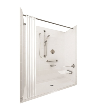 "Ella 6033BF5P-ELB1.0R-BN Elite White Barrier Free Roll In Shower Kit - 60"" x 33"" With Finish: Bone And Drain Position: Right Side Drain"