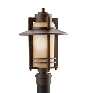Kichler 9959AGZ Creston Collection Outdoor Post Mount 1 Light Aged Bronze