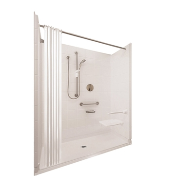 "Ella 6036BF5P-ELS.875C-BN Elite Satin Barrier Free Roll In Shower Kit - 60"" x 36"" With Finish: Bone And Drain Position: Center Drain"