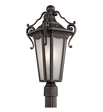 Kichler 49418RZ Nob Hill Collection Outdoor Post Mount 1 Light in Rubbed Bronze
