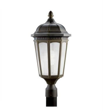 Kichler 11014RZ Courtyard 1 Light Compact Fluorescent Outdoor Post Mount Lantern in Rubbed Bronze