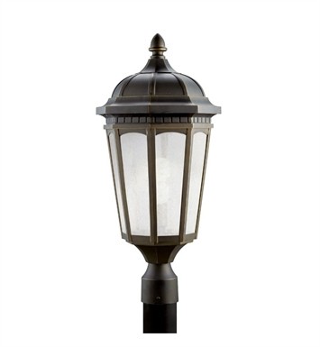 Kichler 11014RZ Courtyard Collection Outdoor Post Mount 1 Light Fluorescent in Rubbed Bronze