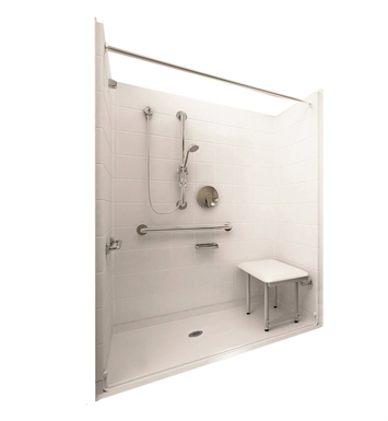 "Ella 6036BF5P-DLX1.0R-BN Deluxe Barrier Free Roll In Shower Kit - 60"" x 36"" With Finish: Bone And Drain Position: Right Side Drain"