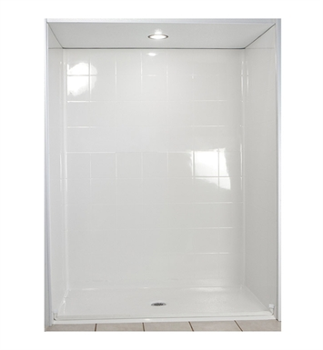 "Ella 6033BF5P-STD1.0R-WH Standard Barrier Free Roll In Shower Kit - 60"" x 33"" With Finish: White And Drain Position: Right Side Drain"