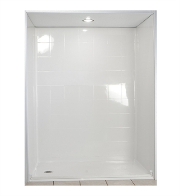 "Ella 6036BF5P-STD1.0L-B Standard Barrier Free Roll In Shower Kit - 60"" x 36"" With Finish: Biscuit And Drain Position: Left Side Drain"