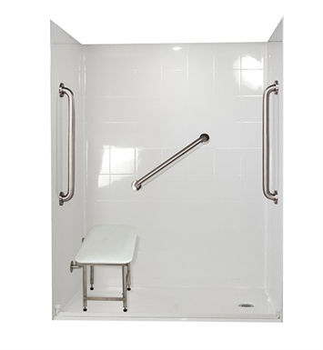 "Ella 6030BF5P-SP24.75C-BN Standard Plus 24 Barrier Free Roll In Shower Kit - 60"" x 30"" With Finish: Bone And Drain Position: Center Drain"