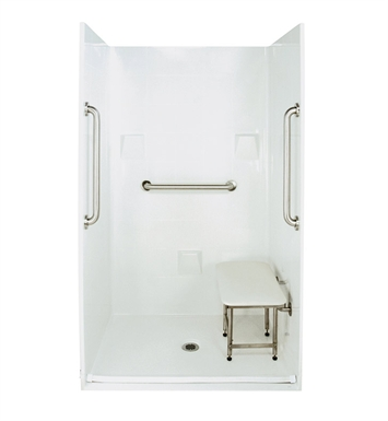 "Ella 4836BF4P.875C-SP24-BN Standard Plus 24 Barrier Free Roll In Shower Kit - 48 x 37"" With Finish: Bone"