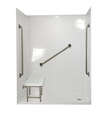"Ella 6030BF5P-SP36.75C-WH Standard Plus 36 Barrier Free Roll In Shower Kit - 60"" x 30"" With Finish: White And Drain Position: Center Drain"