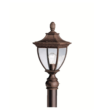 Kichler Amesbury Collection Outdoor Post Mount 1 Light in Tannery Bronze with Gold Accent