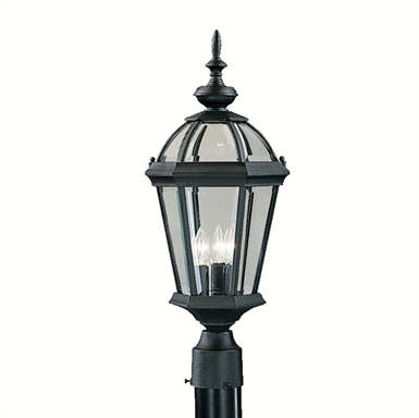 Kichler 9951BK Trenton Collection Outdoor Post Mount 3 Light in Black