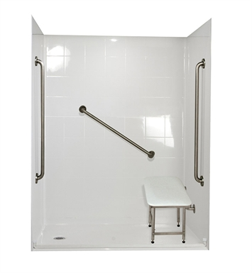 "Ella 6036BF5P-SP36.875C-BN Standard Plus 36 Barrier Free Roll In Shower Kit - 60"" x 36"" With Finish: Bone And Drain Position: Center Drain"