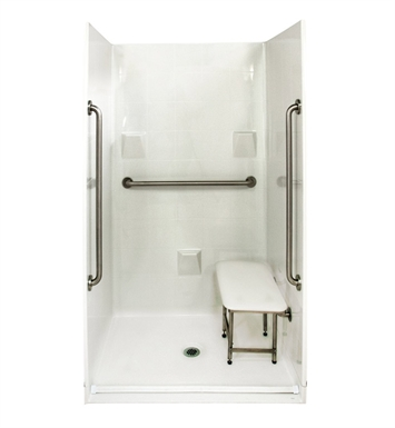 "Ella 4836BF4P.875C-SP36-WH Standard Plus 36 Barrier Free Roll In Shower Kit - 48"" x 37"" With Finish: White"