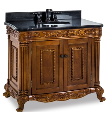 Hardware Resources VAN012-T Burled Ornate Vanity with Preassembled Top and Bowl by Lyn Design