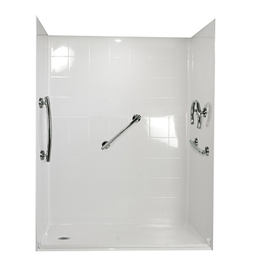 "Ella 6033BF5P-FRDM.75C-BN Freedom Barrier Free Roll In Shower Kit - 60"" x 33"" With Finish: Bone And Drain Position: Center Drain"