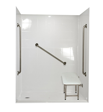 "Ella 6036BF5P-FRDM.875C-WH Freedom Barrier Free Roll In Shower Kit - 60"" x 36"" With Finish: White And Drain Position: Center Drain"