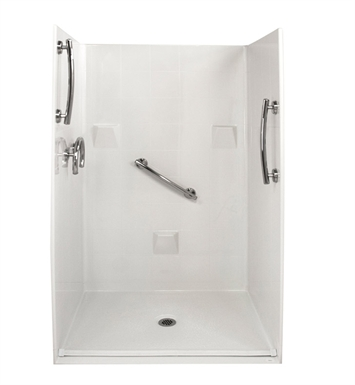 "Ella 4836BF4P.875C-FRDM-BN Freedom Barrier Free Roll In Shower Kit - 48"" x 37"" With Finish: Bone"