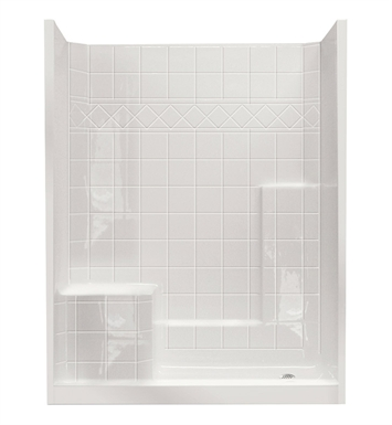 "Ella 6032SHIS3P-STD4.0R-B Standard Low Threshold Shower Kit - 60"" x 33"" With Finish: Biscuit And Drain Position: Left Side Drain with Right Side Seat"