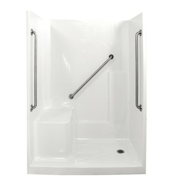 "Ella 6032SHIS3P-SP364.0L-B Standard Plus 36 Low Threshold Shower Kit - 60"" x 33"" With Finish: Biscuit And Drain Position: Right Side Drain with Left Side Seat"