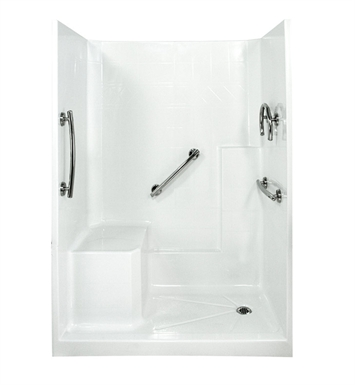 "Ella 6032SHIS3P-FRDM4.0R-B Freedom Low Threshold Shower Kit - 60"" x 33"" With Finish: Biscuit And Drain Position: Left Side Drain with Right Side Seat"