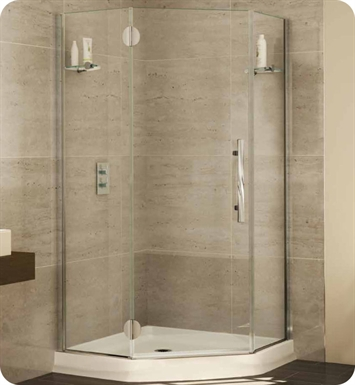 "Fleurco PGNA42-25-40L-M-D Platinum Neo Angle Single Shower Door with Glass to Glass Hinges and Glass Shelf Support With Dimensions: Width: 42"" Depth: 42""  Approx. Entry: 25 1/2"" And Hardware Finish: Brushed Nickel And Glass Type: Clear Glass And Door Direction: Left And Shower Door Handles: Flat And Shower Door Hinges: Rectangular"