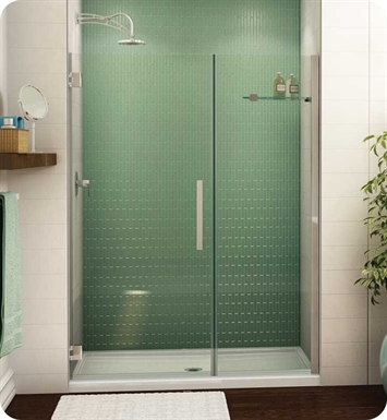 "Fleurco PGKP58-11-40R-R-BH Platinum Kara Shower Door and Panel with Wall Mount Hinges With Dimensions: Width: 58 5/8"" to 59 5/8"" Approx. Entry: 31"" And Hardware Finish: Bright Chrome And Glass Type: Clear Glass And Door Direction: Right And Shower Door Handles: Curved And Shower Door Hinges: Round And Towel Bar: Flat Towel Bar - Chrome Finish"