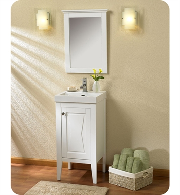 "Fairmont Designs 102-V18 Bowtie 18"" Modern Bathroom Vanity, Sink, Mirror Combo in Polar White"