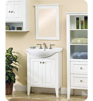 "Fairmont Designs 102-V26 Bowtie 26"" Modern Bathroom Vanity, Sink, Mirror Combo in Polar White"