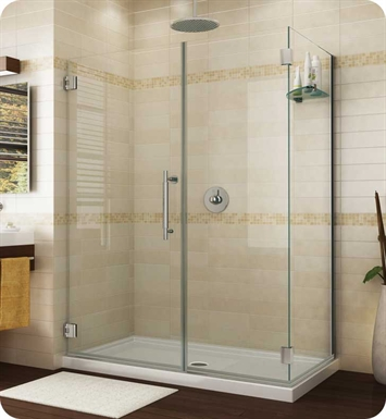 "Fleurco PGKR5636-11-40L-R-BH Platinum Kara Shower Door and Panel with Return Panel and Wall Mount Hinges With Dimensions: Width: 55 3/4"" to 56 1/8"" Return Panel: 36"" Approx. Entry: 29"" And Hardware Finish: Bright Chrome And Glass Type: Clear Glass And Door Direction: Left And Shower Door Handles: Curved And Shower Door Hinges: Round And Towel Bar: Flat Towel Bar - Chrome Finish"