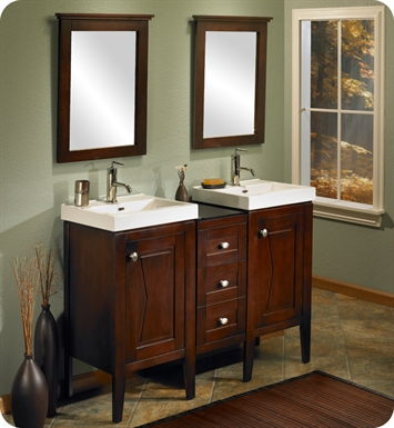 "Fairmont Designs 104-V18_DB1216_V18 Bowtie 48"" Modular Modern Bathroom Vanity Combo with Sinks and Mirrors in Espresso"