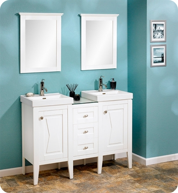"Fairmont Designs 102-V18_DB1216_V18 Bowtie 48"" Modular Modern Bathroom Vanity Combo with Sinks and Mirrors in Polar White"
