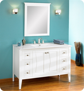 "Fairmont Designs 102-V4821 Bowtie 48"" Modern Bathroom Vanity in Polar White"