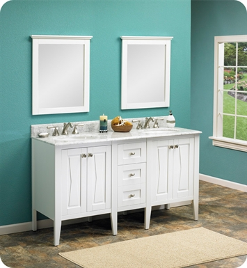 "Fairmont Designs 102-V2421_DB1221_V2421 Bowtie 60"" Modular Modern Bathroom Vanity in Polar White"