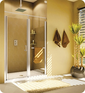 Fleurco E4244-11-50 Banyo Sevilla In Line 42-44 Semi Frameless In Line Pivot Door With Hardware Finish: Bright Chrome And Glass Type: Paris Point Glass (Frosted)