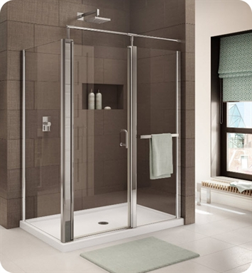 Fleurco E4848-11-50 Banyo Sevilla In Line 4848 Semi Frameless In Line Pivot Door with Return Panel With Hardware Finish: Bright Chrome And Glass Type: Paris Point Glass (Frosted)