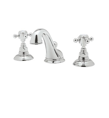 Rohl A1408XC-STN-2 Viaggio C-Spout Widespread Lavatory Faucet with Customizable Handles With Finish: Satin Nickel And Handles: Crystal Cross Handles And Configuration: 2 Handles