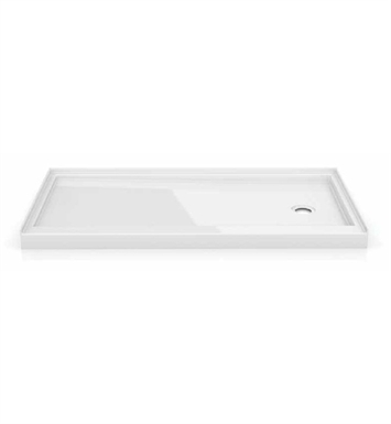 Fleurco ABF6032-18-L3 In-Line Rectangular Acrylic Single Threshold Shower Base with 3 Integrated Tile Flanges & Side Drain Position With Base Direction: Left Side And Finish: White