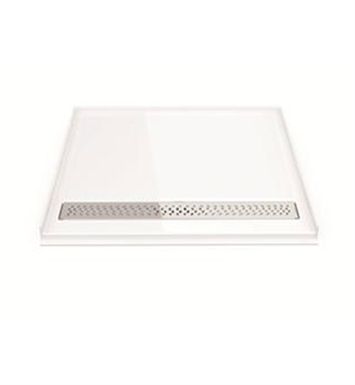 Fleurco ABF3739AD-18-25 Adaptek Transfer Shower Base - ADA Compliant With Finish: White And Drain Cover: Brushed Nickel Finish Drain Cover