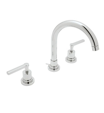 Rohl A2208LM-PN-2 Lombardia C-Spout Widespread Lavatory Faucet With Finish: Polished Nickel And Handles: Lombardia Metal Lever Handles