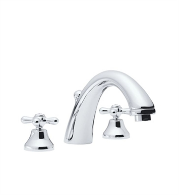 Rohl A2784LM-STN Verona 3-Hole Deck Mount C-Spout Tub Filler With Finish: Satin Nickel And Handles: Verona Metal Lever Handles