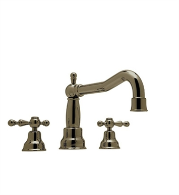 Rohl AC252LM-TCB Cisal Arcana 3-Hole Deck Mount Bathtub Filler With Classic Metal Lever Handles in Tuscan Brass