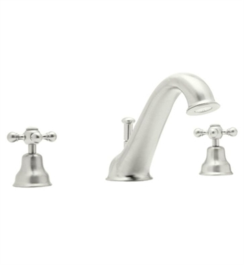 Rohl AC25OP-PN Cisal Arcana 3-Hole Deck Mount Tub Filler With Ornate Porcelain Handles in Polished Nickel