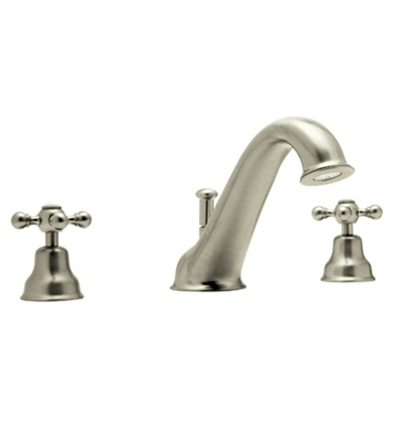 Rohl AC25OP-STN Cisal Arcana 3-Hole Deck Mount Tub Filler With Ornate Porcelain Handles in Satin Nickel