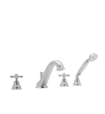 "Rohl AC26OP-PN Arcana 7 7/8"" Two Handle Widespread/Deck Mounted Hi Arc Spout Roman Tub Filler with Handshower With Finish: Polished Nickel And Handles: Ornate Porcelain Lever"