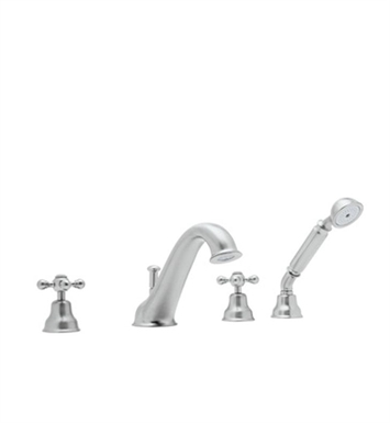 Rohl AC26LM-TCB Cisal Arcana 4-Hole Deck Mount Tub Filler With Handshower With Finish: Tuscan Brass <strong>(SPECIAL ORDER, NON-RETURNABLE)</strong> And Handles: Arcana Classic Metal Lever Handles