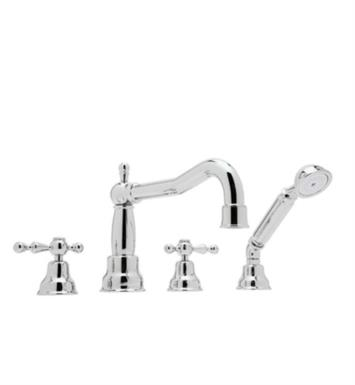 "Rohl AC262OP-STN Arcana 9 7/8"" Two Handle Widespread/Deck Mounted Victorian Spout Roman Tub Filler with Handshower With Finish: Satin Nickel And Handles: Ornate Porcelain Lever"